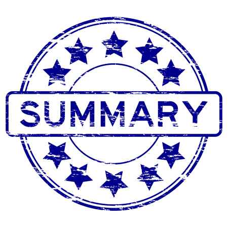 summary: Round grunge summary with star stamp