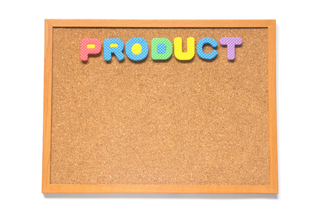 corkboard: Corkboard with wording product placed on white background