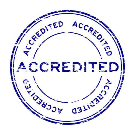 accredited: Grunge round accredited stamp