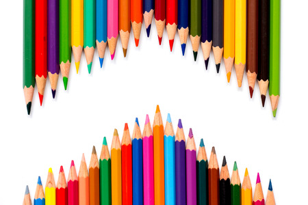 pallete: Row of color pencil on white background
