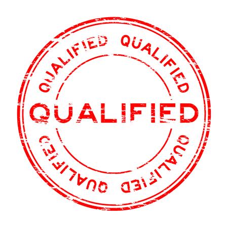 qualified: Grunge qualified stamp on white background