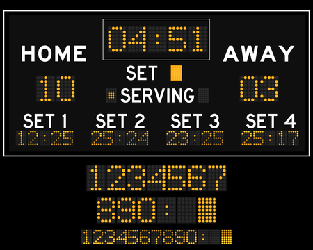 scoreboard timer: Digital led volleyball scoreboard Illustration
