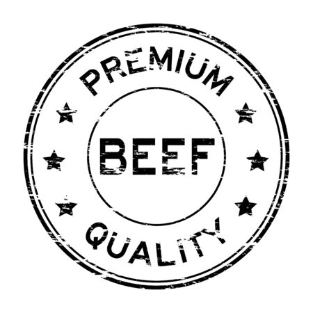 black angus cattle: Grunge beef and premium quality rubber stamp