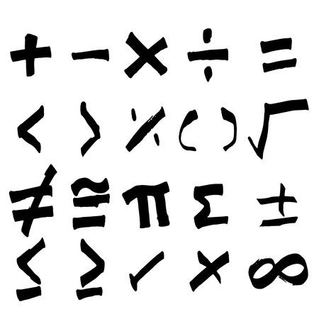Set of hand drawing black math symbol (Vector) Vettoriali