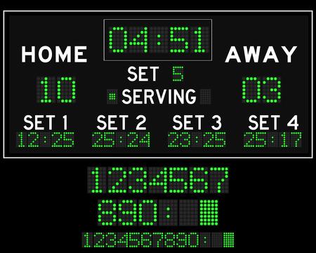 led: Digital led volleyball scoreboard Illustration