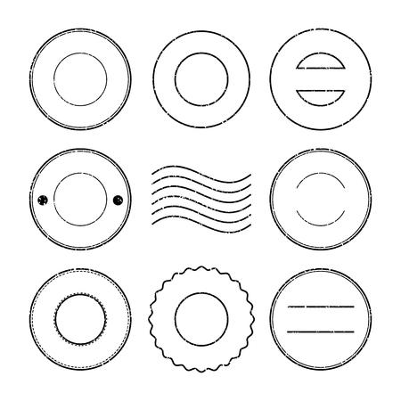 poststempel: Set aus schwarzen Briefmarke und Stempel auf wei�em Hintergrund Illustration