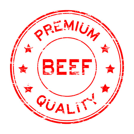 Grunge beef and premium quality rubber stamp