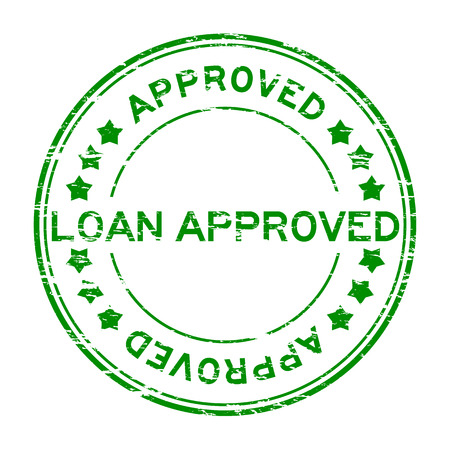 authorize: Grunge green loan approve with star rubber stamp