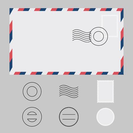 postmark: Set of envelope, stamp, postmark and water mark
