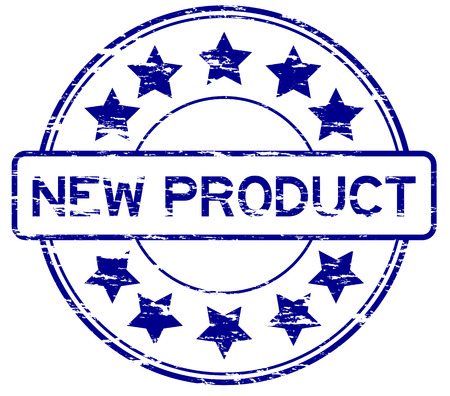 star product: Grunge blue round wording new product with star rubber stamp