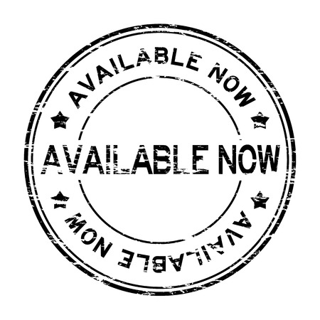 grand sale sticker: Grunge black round available now rubber stamp