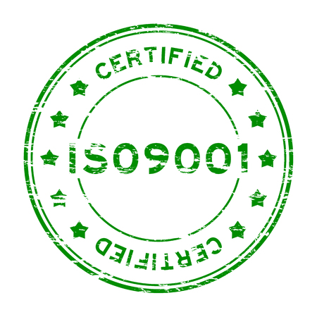assure: Grunge green ISO9001 cerptified with star rubber stamp Illustration