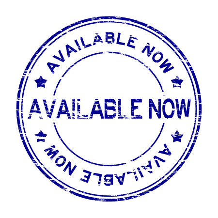 grand sale sticker: Grunge blue round available now rubber stamp