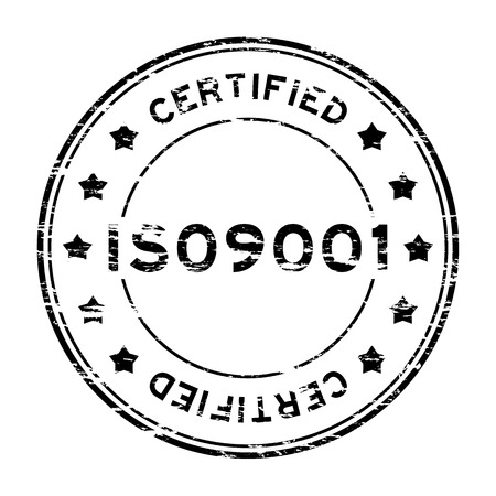 assure: Grunge black ISO9001 certified with star rubber stamp