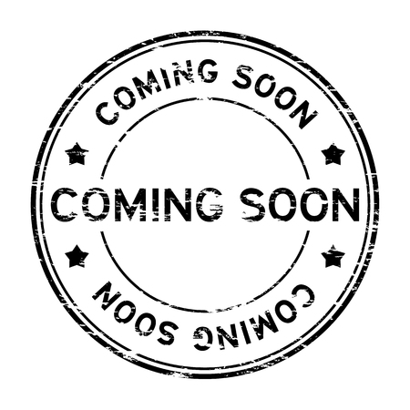 Grunge black round coming soon rubber stamp