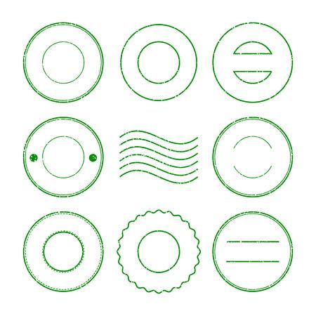 postmark: Set of green postal stamp and postmark on white background