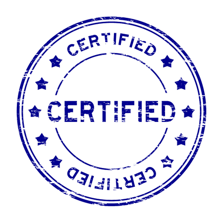 authorize: Grunge blue round certified stamp with star on white background