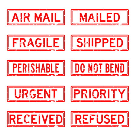 mail service: Grunge red rubber stamp set for mail service