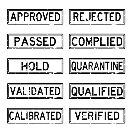 calibrate: Black grunge status stamp for industrial business such as pharmaceutical factory