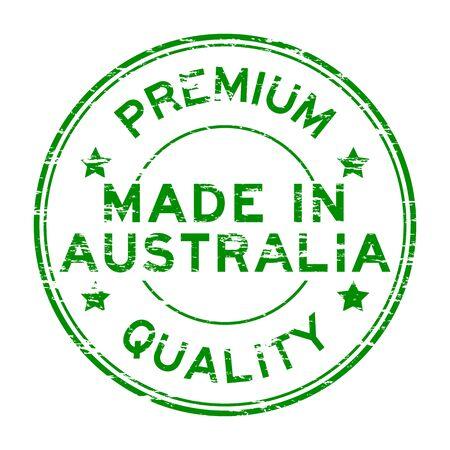 australia stamp: Grunge green made in australia rubber stamp on white background