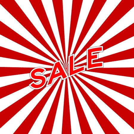 Curve red sale wording placed on sunburst background Illustration