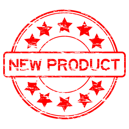 star product: Grunge red round wording new product with star rubber stamp