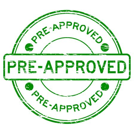 pre approval: Grunge green round pre apporved rubber stamp Illustration