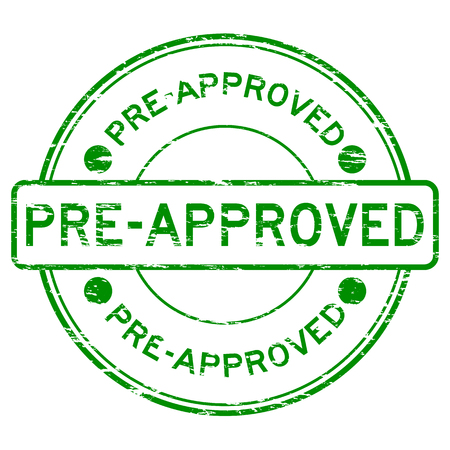 pre approved: Grunge green round pre approved rubber stamp Illustration
