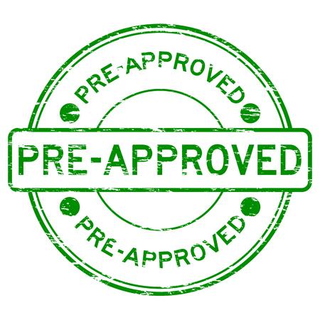 Grunge groene ronde vooraf goedgekeurd stempel Vector Illustratie