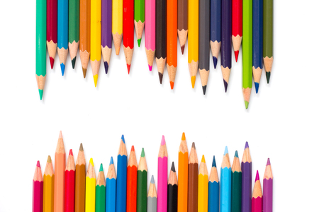 Row of color pencil placed on white background Stock Photo