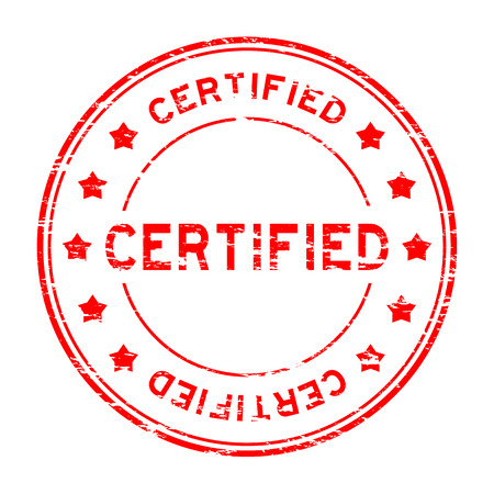 certified stamp: Grunge red round certified stamp with star on white background