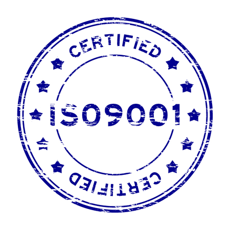 Grunge blue ISO9001 certified with star rubber stamp Vettoriali