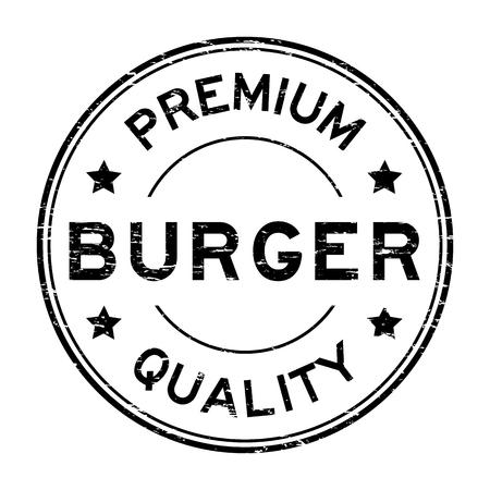 Grunge black premium quality burger rubber stamp Vektorové ilustrace