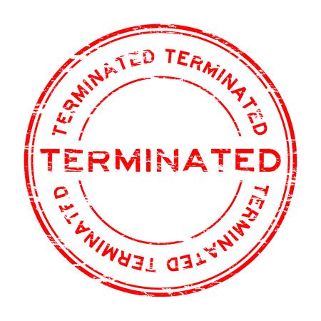terminate: Grunge red round terminate rubber stamp