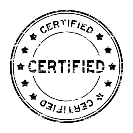certified stamp: Grunge black round certified stamp with star on white background