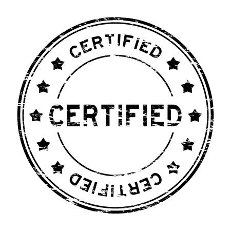 negro ronda grunge sello de certificación con la estrella en el fondo blanco