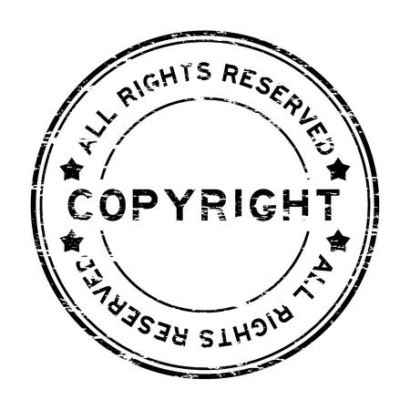 los derechos de autor negro grunge sello de goma todos los derechos reservados Ilustración de vector