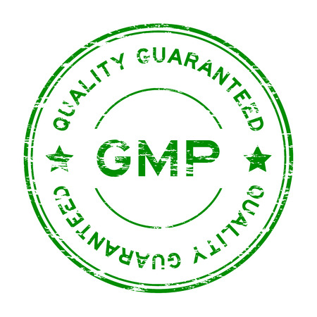 sure: Grunge green GMP (Good manufacturing pracice) and quality guarantee rubber stamp