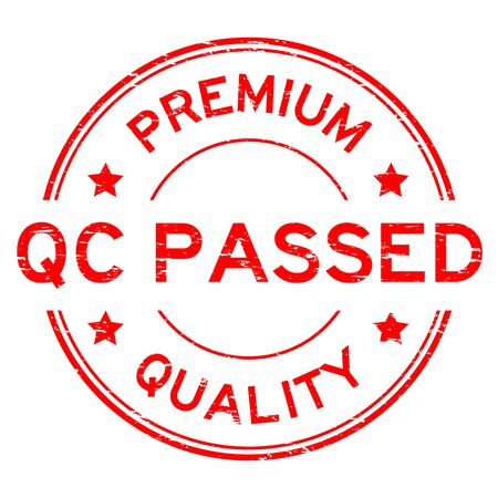 assure: Grunge red premium quality and QC pass rubber stamp