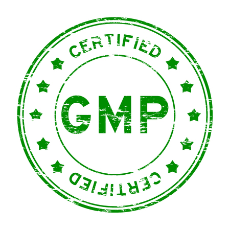 sure: Grunge green GMP (Good manufacuturing practice) and certified rubber stamp Illustration