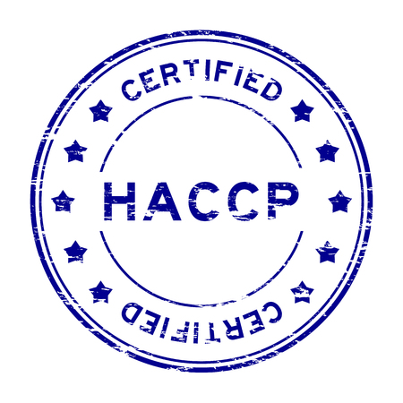 regulatory: Grunge blue HACCP (Hazard Analysis Critical Control Points) certified rubber stamp