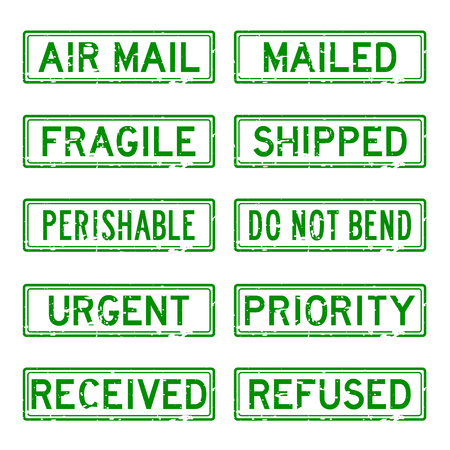 sender: Grunge green rubber stamp set for mail service Illustration