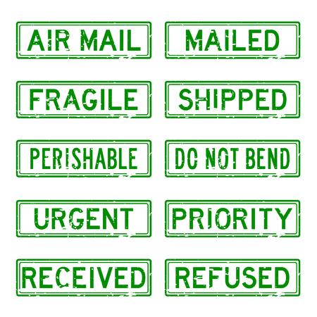 perishable: Grunge green rubber stamp set for mail service Illustration