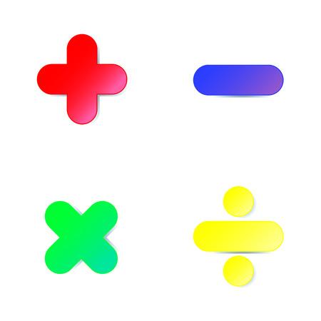 símbolo de la matemáticas: sumar, restar, multiplicar, dividir en papel de colores cortado en el fondo blanco Ilustración de vector
