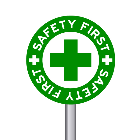 construction safety: wording Safety first in green traffic sign on white background Illustration