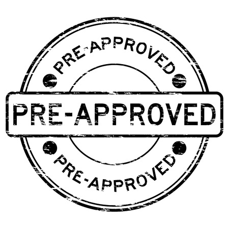 pre approved: Grunge black round pre approved rubber stamp Illustration