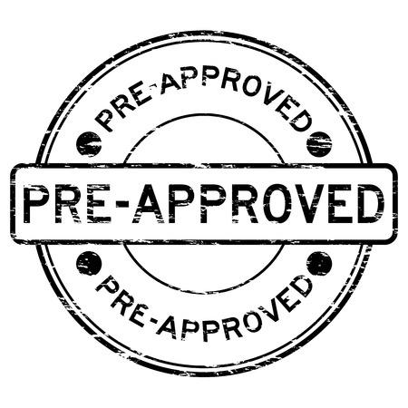 Grunge black round pre approved rubber stamp Illustration