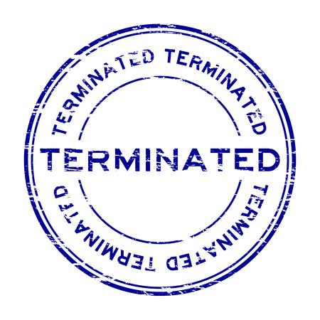 terminate: Grunge blue round terminate rubber stamp Illustration