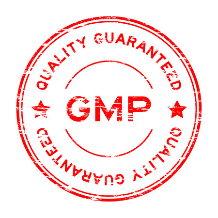 Grunge red GMP (Good manufacturing practice) and quality guarantee rubber stamp Illustration
