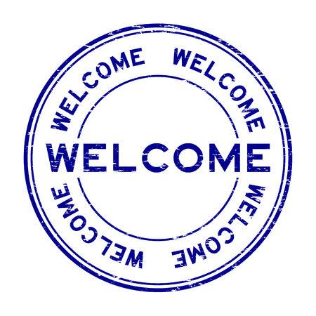 Grunge blue welcome rubber stamp